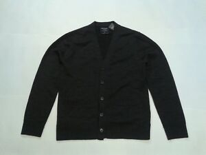 NWT-New-Abercrombie-amp-Fitch-Men-Classic-Button-Down-Sweater-V-Neck-Black-XS