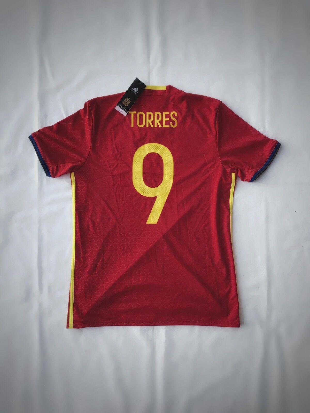 Adidas Spain 2016 Home Jersey  9 Fernanado Torres  Diuominiione Medium