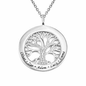 Personalized Family Tree /& Crystal Necklace Custom Photo Necklace 925 Silver Necklace Womens Necklace Moms Birthday Gift Full Color 22