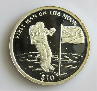 Coins & Paper Money 2000 Liberia $10 Silver Proof Man On The Moon With Original Capsule/coa Buy Now