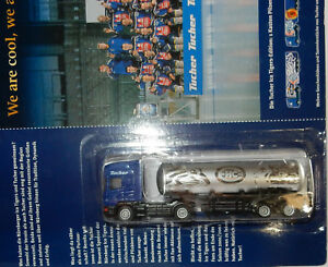 GRELL-HO-1-87-CAMION-CITERNE-TRUCK-SCANIA-164L-TUCHER-BEER-FOOTBALL-ICE-TIGERS