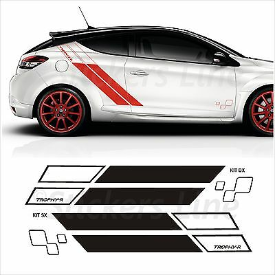 Adesivi fiancate Renault Megane TROPHY - R stickers laterali fasce adesive
