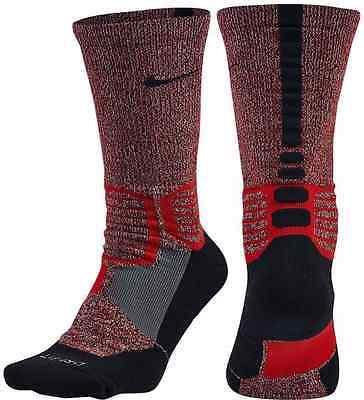 NIKE Hyper Elite High Quarter Basketball Socks Crimson Volt Women 4-6 Kids 3Y-5Y