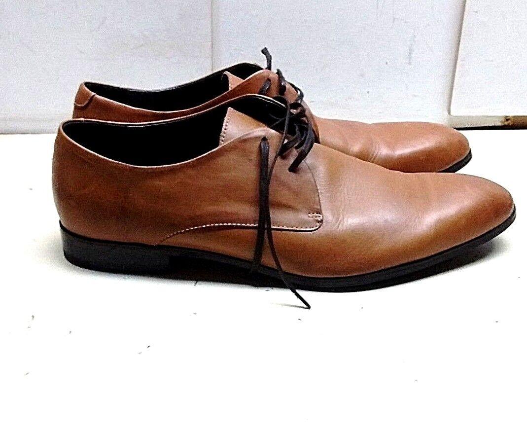 Bacco Bucci 12 M Brown Leather Oxfords Plain Toe Studio Casual Dress shoes Men's