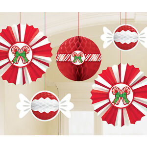 peppermint honeycomb hanging paper fans with candy cane ceiling