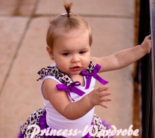 White Pettitop Tank Top with Bow Purple Leopard Ruffle For Girl Pettiskirt NB-8Y