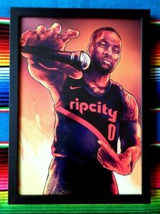 Framed-DAMIAN-LILLARD-Portland-Trail-Blazers-NBA-Poster-84cm-x-59-5cm-x-3cm