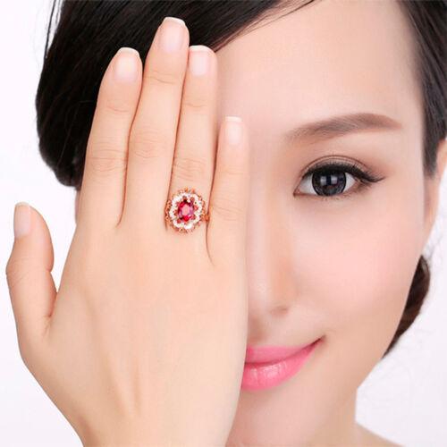 Bonne qualité ring Rouge Zircon Mode Bijoux Anneaux pour femmes Taille 7 8