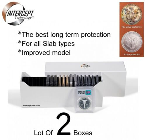2 Boxes Coin Storage 2 Lighthouse Intercept Shield Active Slabs Protection Lot