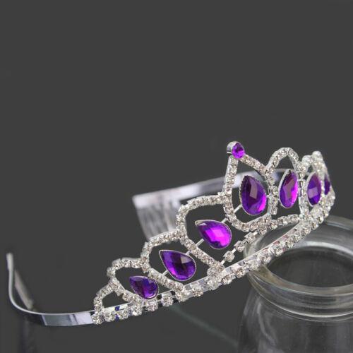 Wedding Bridal Purple Crystal Rhinestone Princess Pageant Tiara Crown Headband