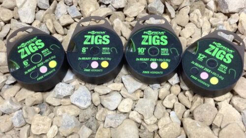 4 X PACKS OF KORDA READY MADE BARBED HOOK ZIG RIGS ALL LENGTHS
