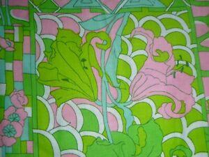 Vtg-Cotton-Fabric-MOD-Iris-Lilies-Flowers-Aqua-Pink-Green-38-x-1-5-yd
