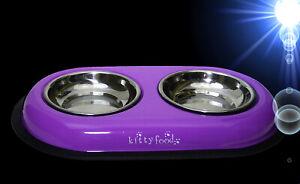 Katzen-DOPPELNAPF-2-x-200-ml-IN-LILA-Zubehoer-Wassernapf-Fressnapf