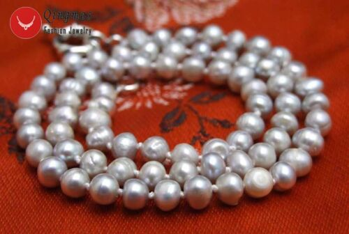 5-6mm Gray Round Natural Freshwater Pearl 17/'/' Chokers Necklace for Women 6303
