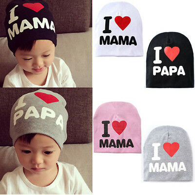 I love Mama Papa Beanie Cap Toddler Kids Baby Boy Girl Soft Warm Cotton Hat 1PC