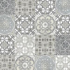 4-69-qm-Tapete-Patchwork-Vintage-Fliesenoptik-Beige-Grau-Norwall-KE-29951
