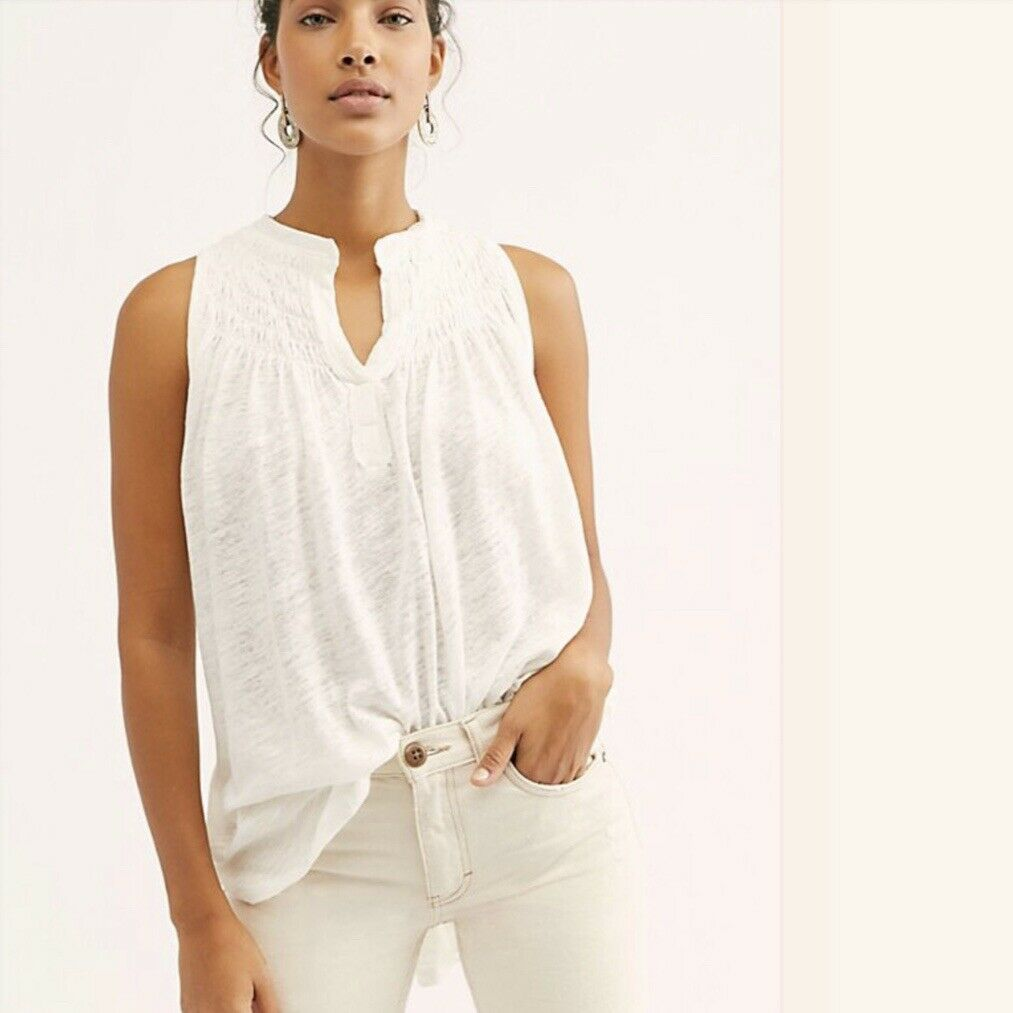 Free People We The Free New To Town Tank Top Ivory XSmall XS  OB889728 NWT