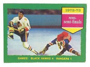 1973-74-OPC-O-Pee-Chee-196-Black-Hawks-4-Rangers-1-Hockey-Card-E685