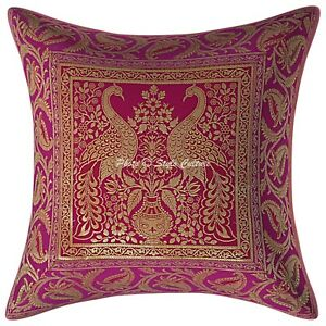 "Pink Gold Indian Ethnic Floral Silk Brocade Cushion Covers Handmade 16"" Zip Back"