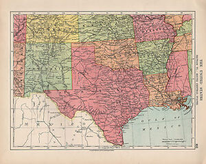 1924 PRINT ~ UNITED STATES SOUTH CENTRAL ~ TEXAS NEW MEXICO OKLAHOMA ARKANSAS