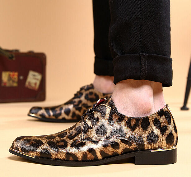 Cool Leopard Print Fashion Patent Leather Dress Oxford shoes Men Metal Border SZ
