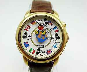 Disney Lorus Mickey Mouse Musical Flags Globe Watch Used