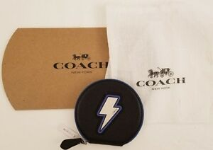 Coach Black Lightening Bolt Embossed Leather Round Coin Case 59407 NWT