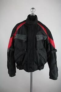 M-Robert-Motorradjacke-Gr-54-44-XL-schwarz-rot-grau-Top-Zustand