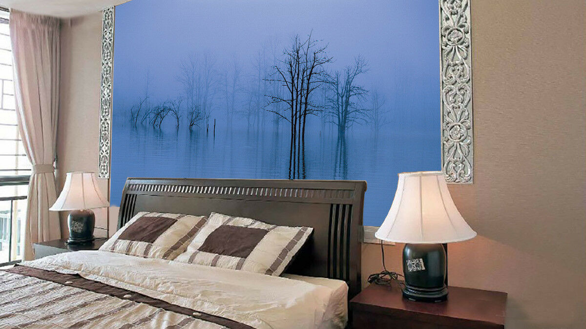 3D Misty Lake Tree 43 Wall Paper Wall Print Decal Wall Deco Indoor Mural Summer