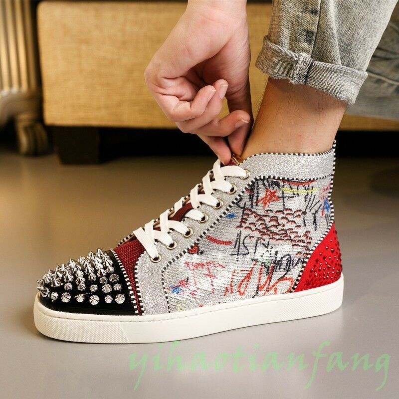 New Uomo Sequin Nightclub Shoes Rivet High Top Shoes Nightclub Doodle Rhinestone CL Board Shoes Y 8b80a8