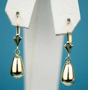 14k White Gold Dangle Polished Ball Leverback Pierced Earrings