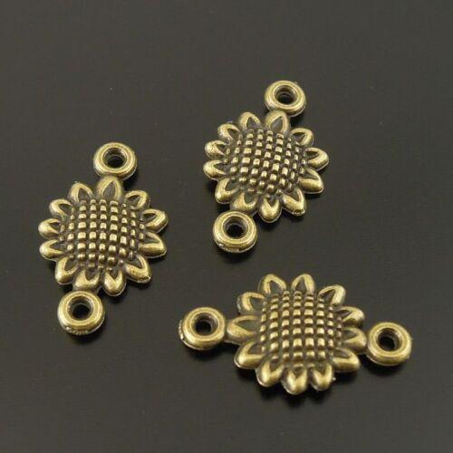 120PCS Antique Bronze Tone Sunflower Vintage Charms Jewelry Connector 10*10*1mm