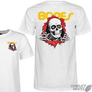 Powell Peralta BONES BASIC Skateboard T Shirt WHITE XL