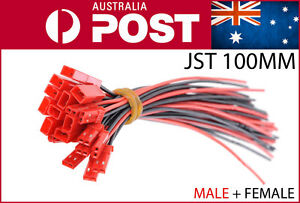 5-pairs-100mm-JST-connector-Male-Female-Cable-BEC-LIPO-BATTERY-AU-POST-10pcs-5x