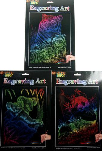 Koala Panda Set of 3 Rainbow Foil Engraving Art Craft Kits Tiger