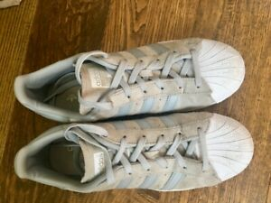 buy popular f76d8 c36d2 Details about Adidas Superstars Suede Grey sneakers US Size 8 Women's