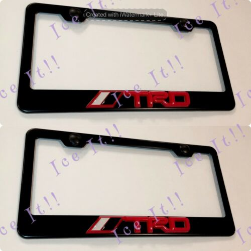 2X 3D TRD 4X4 Red Toyota Tacoma Emblem Black Stainless Steel License Plate Frame