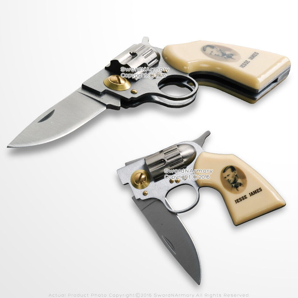 7.5″ Jesse James Memorial Revolver Stainless Steel Lockback Fantasy Knife