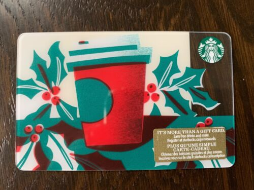 """Canada Series Starbucks /""""HOLLY PAPER CUP 2018"""" Gift Card New No Value"""