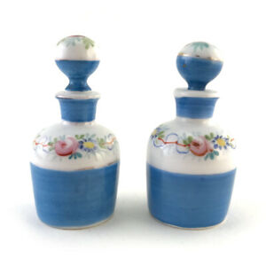 Pair-Antique-French-Miniature-Enameled-Porcelain-Perfume-Vanity-Scent-Bottles
