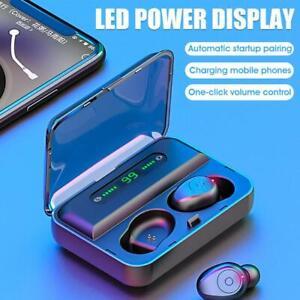 TWS-Bluetooth-Earphone-5-0-Waterproof-IPX7-HD-Stereo-Wireless-Black-Earbuds-T1P0