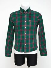 MENS ABERCROMBIE&FITCH CASUAL SHIRT LONG SLEEVED GREEN CHECKED SIZE S SMALL