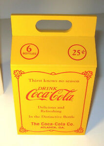COCA-COLA-BOX-20-039-s-Style-6-pack-Bottle-Carrier-Coke-7-034-Yellow-Willitts-1990-MIB