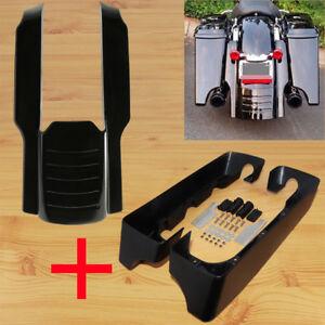 "Black 7/"" rear fender extension filler stretched add on fit Harley Touring 96-08"