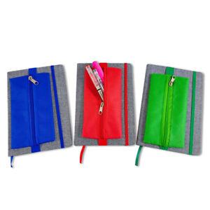 Notizbuch mit Stoffbezug und Stiftemäppchen DIN A5 Blanko