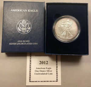 Direct from the US Mint 2012-W BURNISHED SILVER EAGLE With Box /& COA