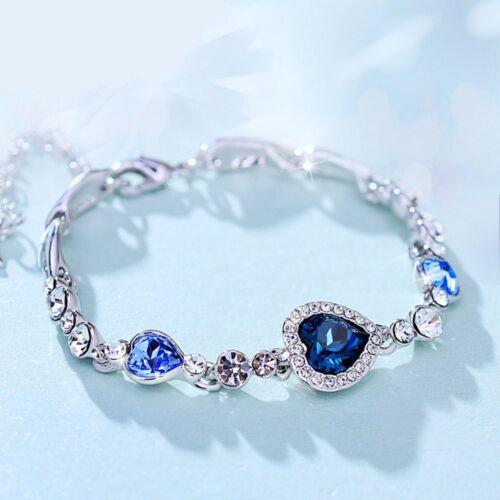 Ladies Elegant Chic Ocean Blue Crystal Rhinestone Heart Bangle Bracelet Gift