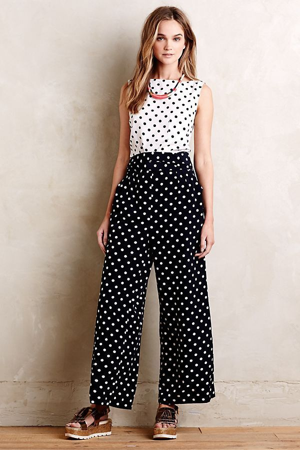NEW ANTHROPOLOGIE  188 DOMINO DOT JUMPSUIT BY WHIT TWO SZ 12