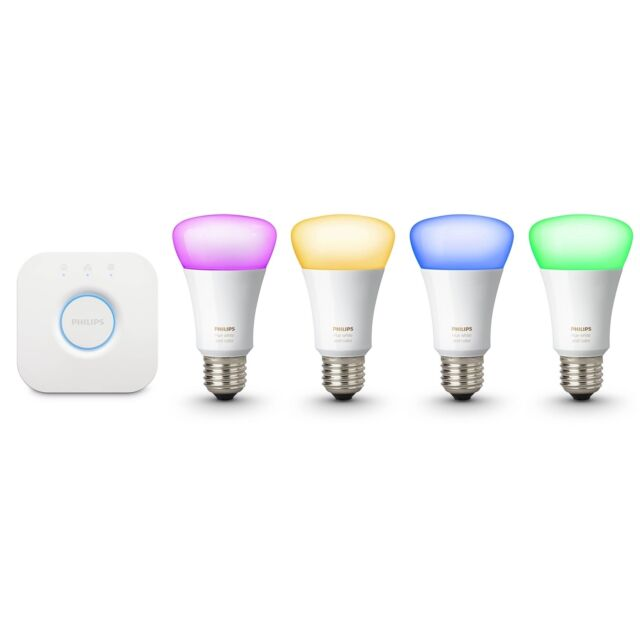 4-Pack Philips 472027 Hue White Dimmable 60W A19 Gen 3 Smart Bulbs