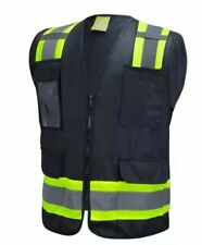 Surveyor Black Two Tones Safety Vest With Multi Pocket Tool Photo Id